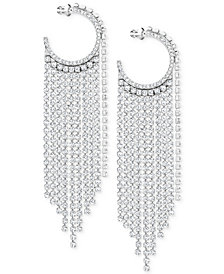 "Swarovski Silver-Tone 3-2/3"" Crystal Hoop & Fringe Chandelier Earrings"