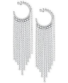 Swarovski Silver-Tone Crystal Hoop & Fringe Chandelier Earrings