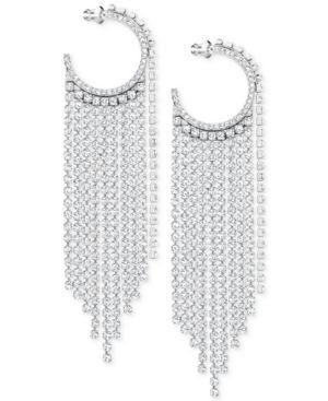 "SWAROVSKI Silver-Tone 3-2/3"" Crystal Hoop & Fringe Chandelier Earrings in White"