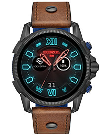 Diesel Men's Full Guard 2.5 Brown Leather Strap Touchscreen Smart Watch 48mm