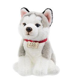 FAO Schwarz Toy Plush Puppy Floppy Husky 10inch
