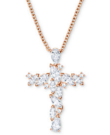"Swarovski Rose Gold-Tone Crystal Cross Pendant Necklace, 14-4/5"" + 3"" extender"