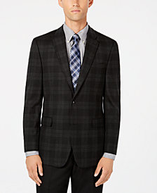 Tommy Hilfiger Men's Modern-Fit TH Flex Stretch Charcoal/Black Tartan Sport Coat