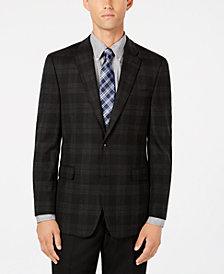 Tommy Hilfiger Men's Modern-Fit TH Flex Stretch Charcoal/Black Tartan Sport Coat