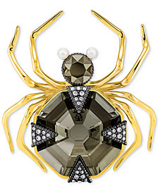 Swarovski Two-Tone Crystal & Imitation Pearl Spider Magnetic Brooch