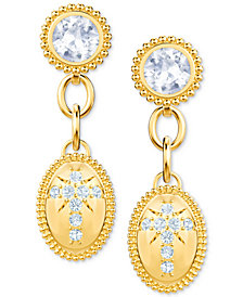 Swarovski Gold-Tone Crystal Cross Drop Earrings