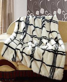 Faux Fur throw in Black and White