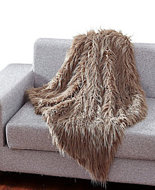 Faux Fur Throw Blanket, Super Soft Mongolian Fuzzy Light Weight Luxurious Cozy - 50 x 60