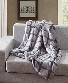 Faux Fur Throw Blanket, Super Soft Chevron Fuzzy Light Weight Luxurious Cozy - 50 x 60