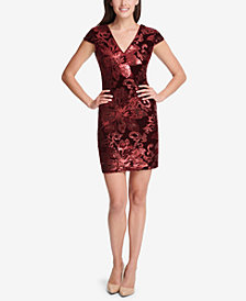 GUESS Flocked Velvet Bodycon Dress