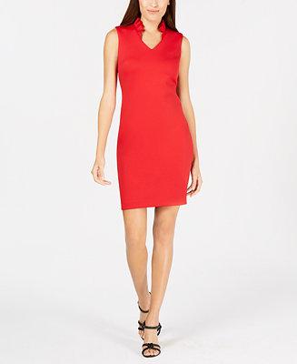 91724587dc46d Calvin Klein Petite Ruffled Sheath Dress   Reviews - Dresses - Petites -  Macy s