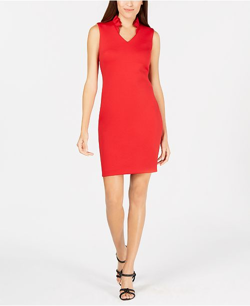 c9c0e3cefd861 Calvin Klein Petite Ruffled Sheath Dress   Reviews - Dresses - Petites ...