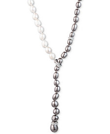 "Carolee Silver-Tone Crystal & Ombré Freshwater Pearl (9-10) Adjustable 16"" Lariat Necklace"