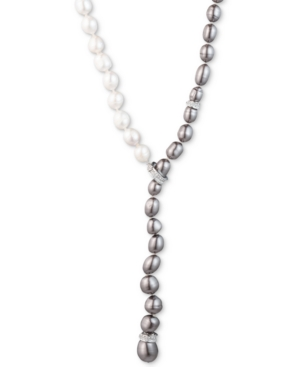 """Carolee SILVER-TONE CRYSTAL & OMBRE FRESHWATER PEARL (9-10) ADJUSTABLE 16"""" LARIAT NECKLACE"""