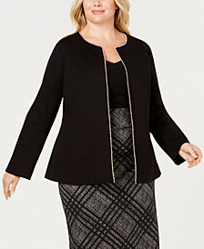 Alfani Plus Size Beaded-Edge Jacket, Created for Macy's