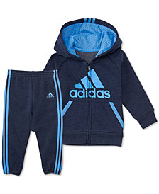 adidas Baby Boys 2-Pc. Full-Zip Hooded Fleece Jacket & Joggers Set
