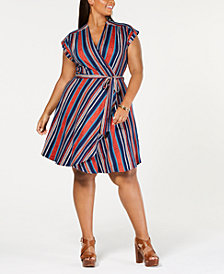 Monteau Trendy Plus Size Faux-Wrap Dress
