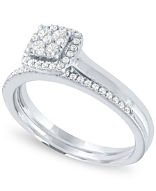 Diamond Square Halo Cluster Bridal Set (1/3 ct. t.w.) in 14k White Gold