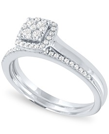Diamond Square Halo Cluster Bridal Set (1/3 ct. t.w.) in 14k White Gold