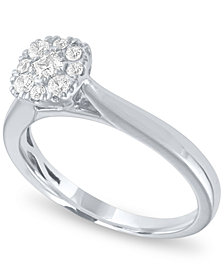 Diamond Cushion Halo Ring (1/3 ct. t.w.) in 14k White Gold
