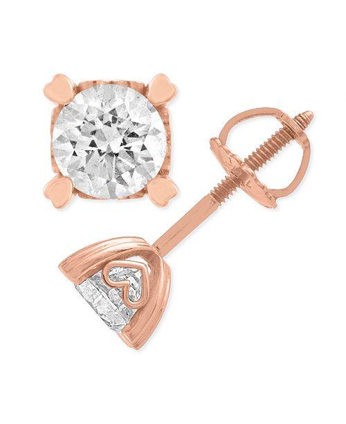 a77400642 Macy's Diamond Stud Earrings in Heart Shape Prongs (1/2 ct. t.w.) in ...
