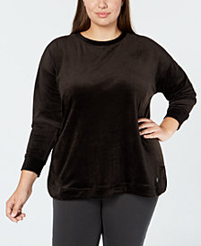 Ideology Plus Size Velour Drop-Shoulder Top, Created for Macy's