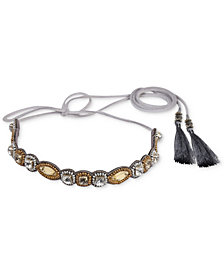 Deepa Two-Tone Crystal, Bead & Tassel Hair Tie Wrap
