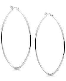 Essentials Oval Large Hoop Earrings in Fine Silver-Plate