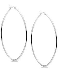 Essentials Skinny Large Oval Hoop Earrings in Fine Silver-Plate