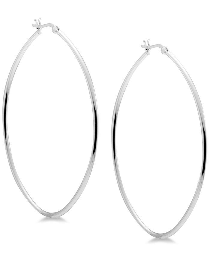 Essentials - Skinny Oval Hoop Earrings in Fine Silver-Plate