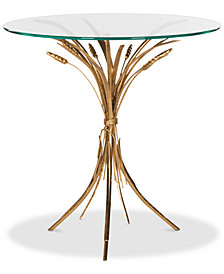 Bessi Gold Leaf Side Table, Quick Ship
