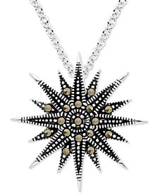 "Marcasite  Starburst 18"" Pendant Necklace in Fine Silver-Plate"