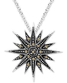 "Marcasite  Starburst 18"" Pendant Necklace in Fine Silver-Plate"