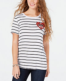Rebellious One Juniors' Semi Nice Striped Graphic T-Shirt