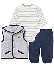 Little Me Baby Boys 3-Pc. Hooded Vest, Bodysuit & Jogger Pants