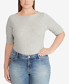 Lauren Ralph Lauren Plus Size Elbow-Sleeve Top