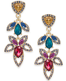 I.N.C. Gold-Tone Stone & Crystal Flower Drop Earrings, Created for Macy's