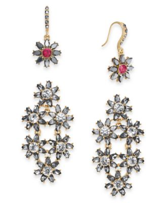 I.N.C. Day & Night Hematite-Tone 2-Pc. Box Set Coordinated Crystal & Stone Flower Drop Earrings, Created for Macy's