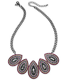 "I.N.C. Hematite-Tone Multicolor Crystal Oval Statement Necklace, 20"" + 3"" extender, Created for Macy's"