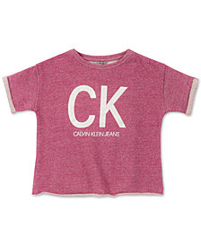 Calvin Klein Big Girls Cut-Off Logo Short-Sleeve Sweatshirt