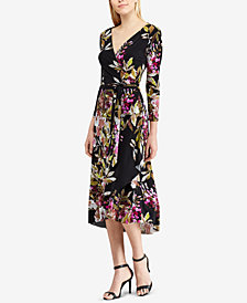 American Living Floral-Print Surplice Midi Dress