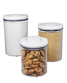 Food Storage Containers, 3 Piece Round Pop Canister Set