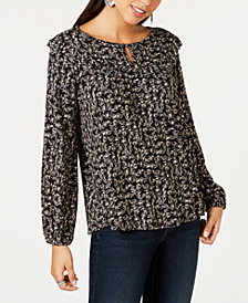 Style & Co Printed Ruffle-Trimmed Blouse, Created for Macy's
