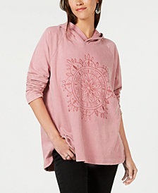 Style & Co Embroidered Pullover Hooded Sweatshirt, Created for Macy's