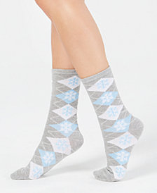 Charter Club Women's Snowflake Argyle Crew Socks, Created for Macy's