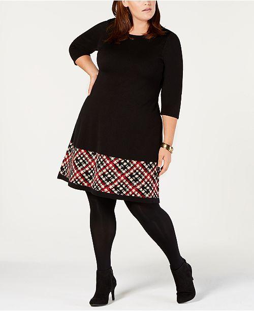 Jessica Howard Plus Size Printed-Hem Sweater Dress & Reviews ...