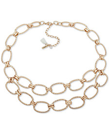 "lonna & lilly Gold-Tone Pavé Link Double-Row Collar Necklace, 16"" + 3"" extender"