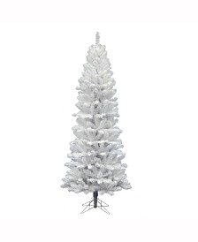 Vickerman 7.5' White Salem Pencil Pine Artificial Christmas Tree Unlit
