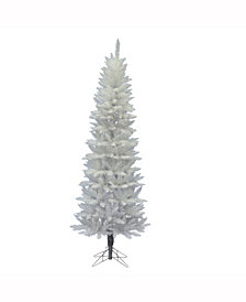 Vickerman 7.5' Sparkle White Spruce Pencil Artificial Christmas Tree Unlit