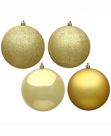 "4"" Gold 4-Finish Ball Christmas Ornament, 12 per Box"
